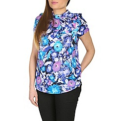 Izabel London - Blue pleat neck collar top