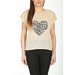 Izabel London - Beige animal heart wild top