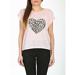 Izabel London - Light pink animal heart wild top
