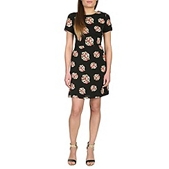 Poppy Lux - Black thora floral a-line shift dress