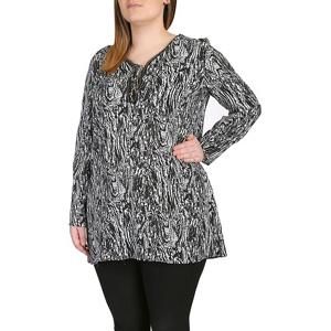 Plus Size Samya Black 34 Sleeve Printed Dress
