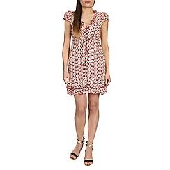 Izabel London - Red polyester short sleeve floral print