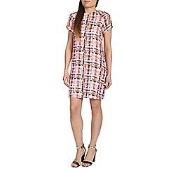 Izabel London - Pink polyester short sleeve check printed