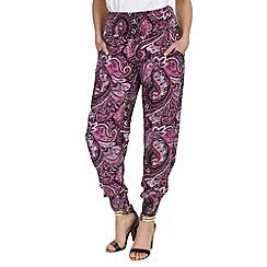 Izabel London - Pink viscose long patterned harem pants
