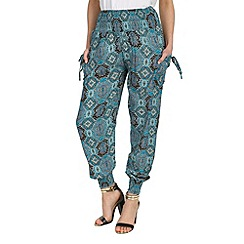 Izabel London - Blue shirring waist print trousers