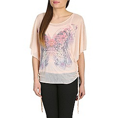 Izabel London - Pink diamante butterfly top