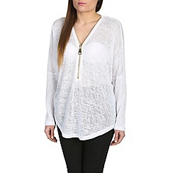 Mandi - White long sleeve zip front top