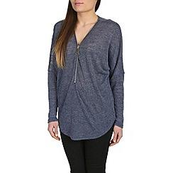 Mandi - Blue long sleeve zip front top