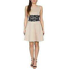 Amaya - Beige scuba lace detail dress
