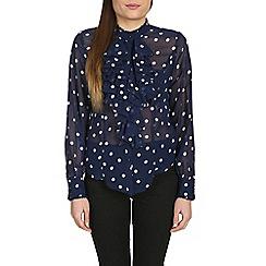 Jolie Moi - Blue ruffle front ploka print blouse