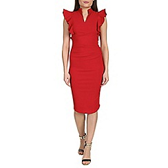 Jolie Moi - Red frilly shoulder bodycon dress