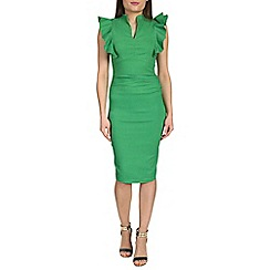 Jolie Moi - Green frilly shoulder bodycon dress