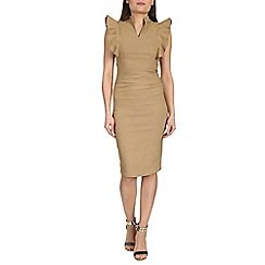Jolie Moi - Camel frilly shoulder bodycon dress