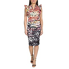 Jolie Moi - Black frilly shoulder bodycon dress