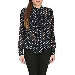Jolie Moi - Navy ruffle front ploka print blouse