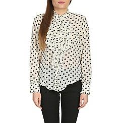 Jolie Moi - Cream ruffle front ploka print blouse