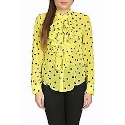 Jolie Moi - Yellow ruffle front ploka print blouse