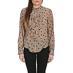 Jolie Moi - Chocolate ruffle front ploka print blouse