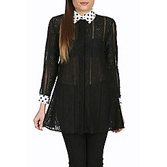 Jolie Moi - Black contrast collar a-line shirt