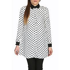 Jolie Moi - White contrast collar a-line shirt