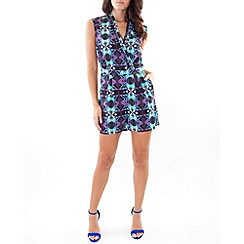 Wolf & Whistle - Multicoloured geo print playsuit