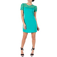 Wolf & Whistle - Green lace top dress green