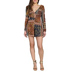 Alice & You - Bronze chiffon printed playsuit