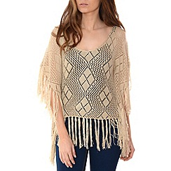 Alice & You - Natural fringed crochet poncho