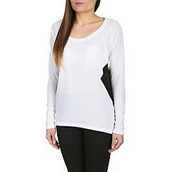 Izabel London - Cream sheer side panel jersey top