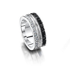 Buckley London - Silver black & white cube ring