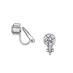 Buckley London - Silver bezel clip earrings