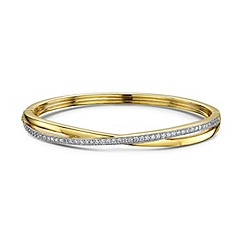 Buckley London - Gold millgrain crossover bangle