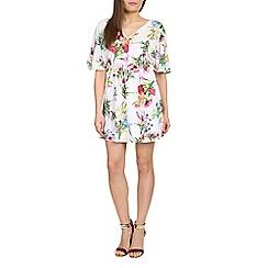 Madam Rage - White tropical v neck dress