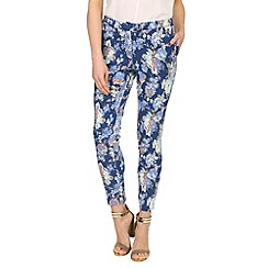 Madam Rage - Blue floral cigarette trousers