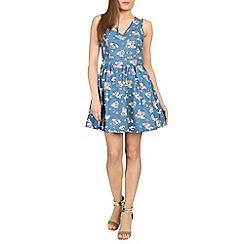 Madam Rage - Blue chambray floral dress