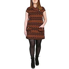 Samya - Orange cowl neck buttoned dress