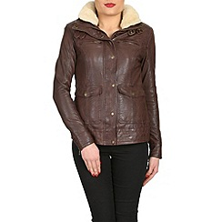 Barneys - Brown faux collar leather jacket