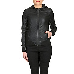Barneys - Black pu bomber jacket