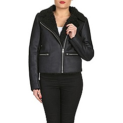 Barneys - Black faux bonded biker