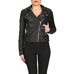 Barneys - Black leather asymmetric jacket