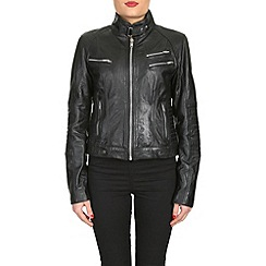 Barneys - Black leather biker jacket