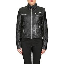 Barneys - Black leather biker jacket