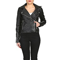 Barneys - Black asymmetric leather jacket