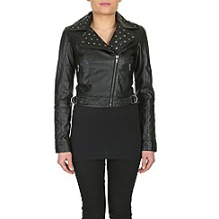 Barneys - Black cropped leather jacket