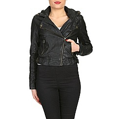 Barneys - Black asymmetric pu jacket
