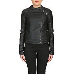 Barneys - Black asymmetric pu jacket