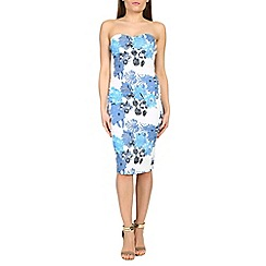 Amaya - Blue floral print sleeveless dress