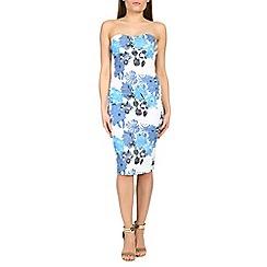 Amaya - Blue floral print sleeveless dress