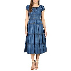 Amaya - Mid blue denim ruffle maxi dress