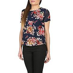 Poppy Lux - Navy ren floral top